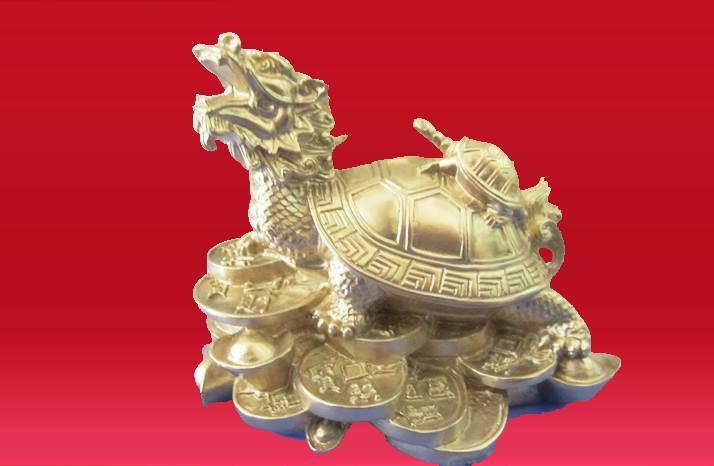 Tượng rùa bằng đồng, tượng rùa đầu rồng đứng trên tiền vàng